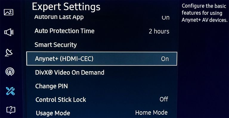 Samsung Anynet+ HDMI-CEC Setup Option in TV Menu
