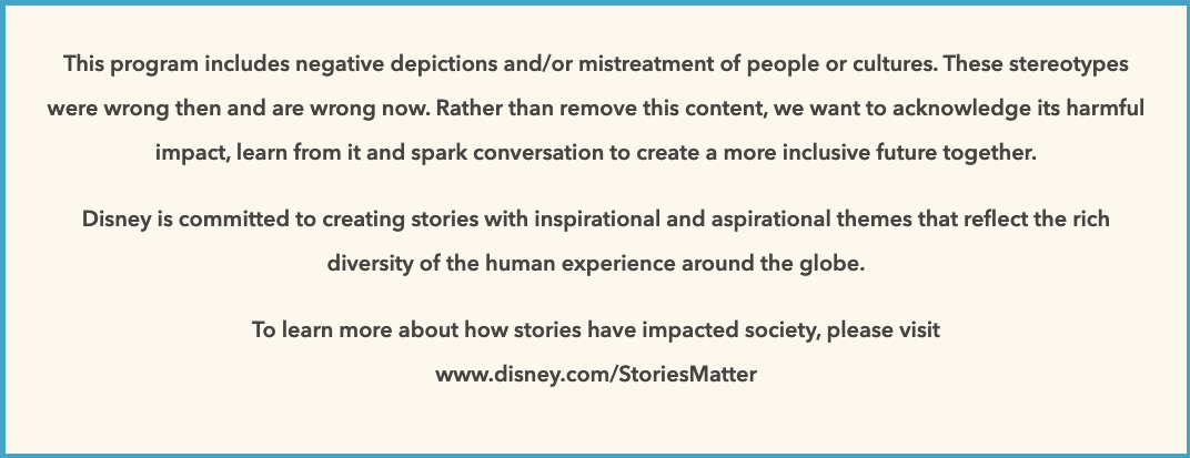 The Disney+ content advisory warning that will appear before select titles.
