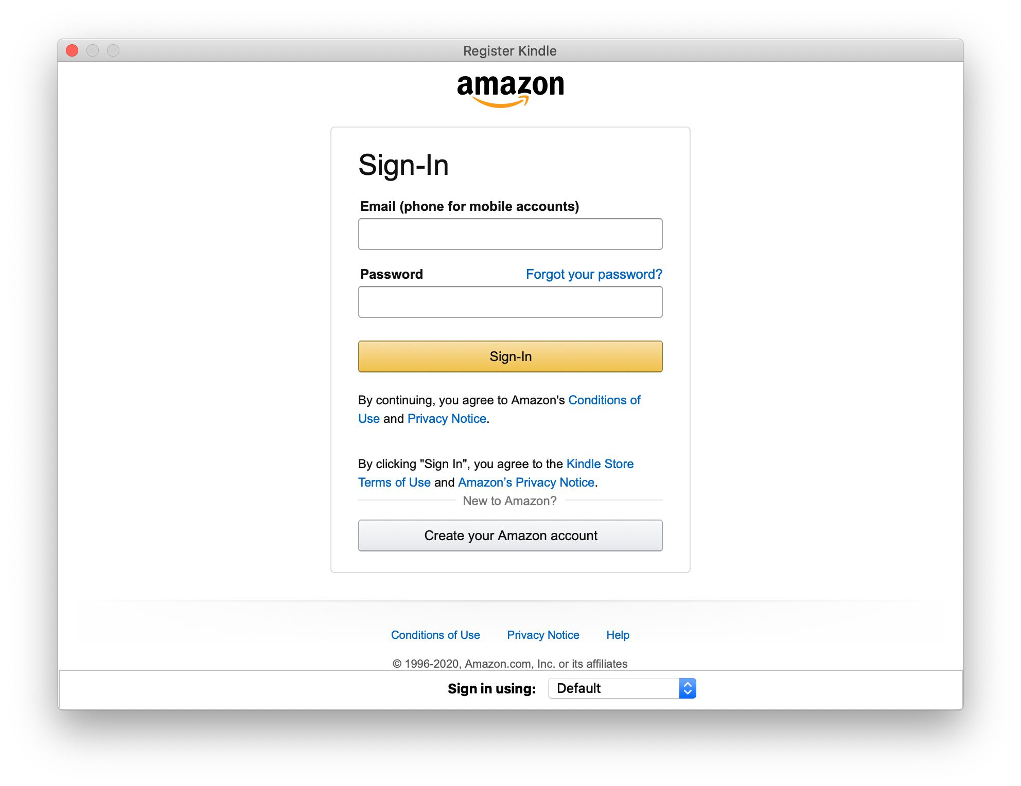 Amazon sign-in screen in the Kindle app