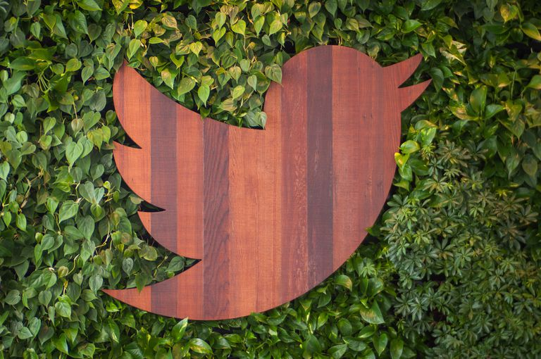 Twitter wood logo at its headquarters