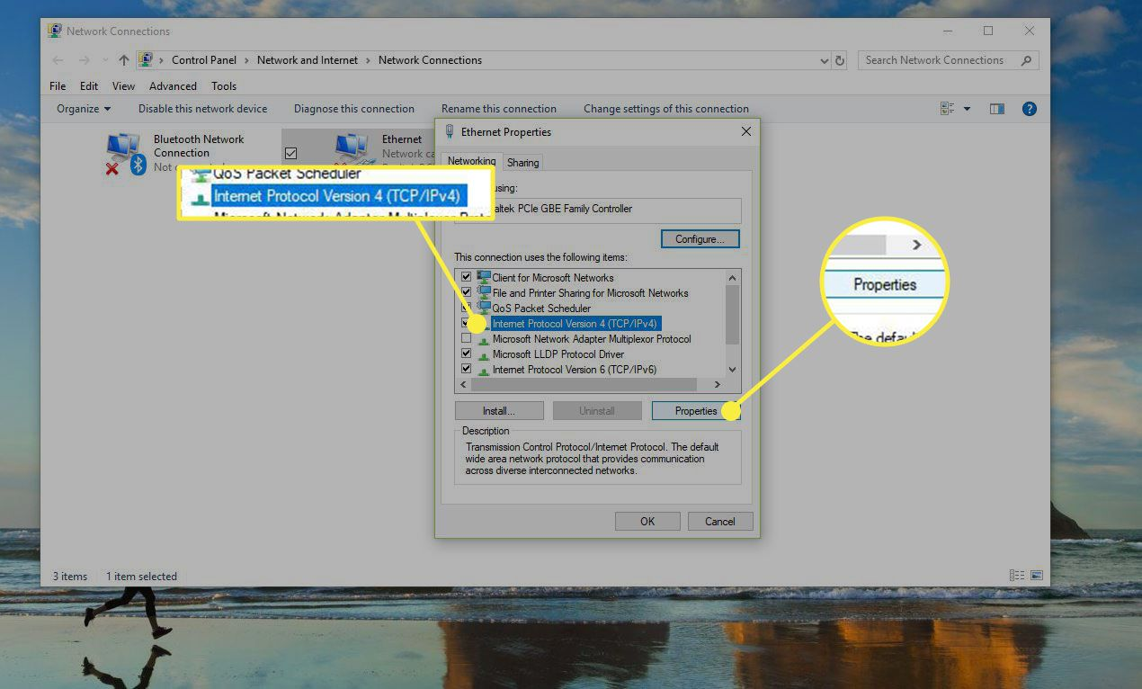 Network Connection settings in Windows with IPV4 and Properties highlighted