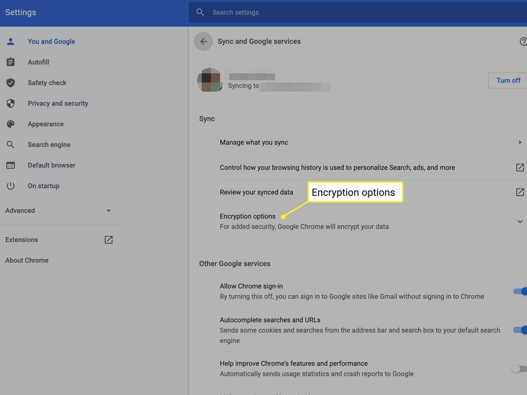 Encryption options