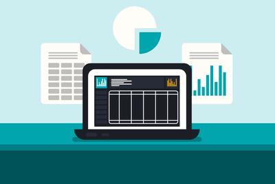 Spreadsheet illustration on a laptop