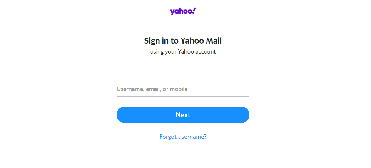 Yahoo! Mail Sign-in Screen