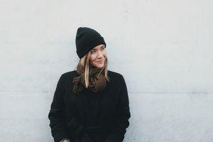 Woman wearing a beanie hat