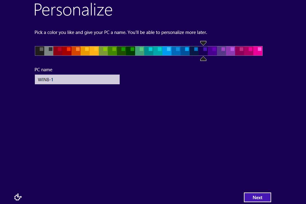 Windows 8.1 personalize screen
