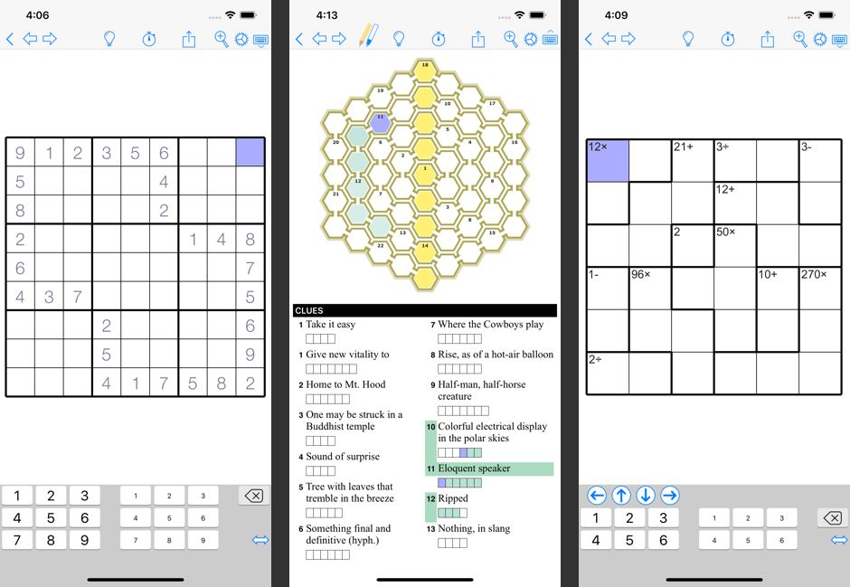 Three puzzles from the Puzzazz app for iOS.
