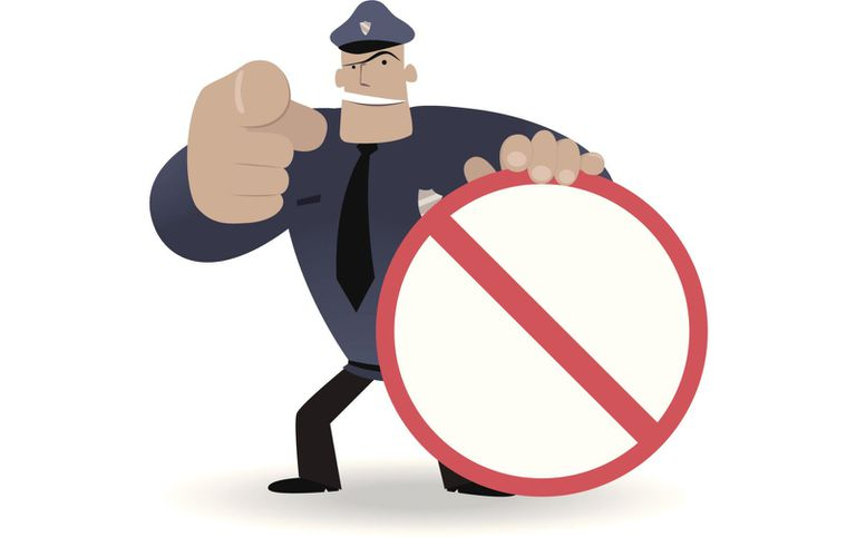 cartoon police officer blocking ads