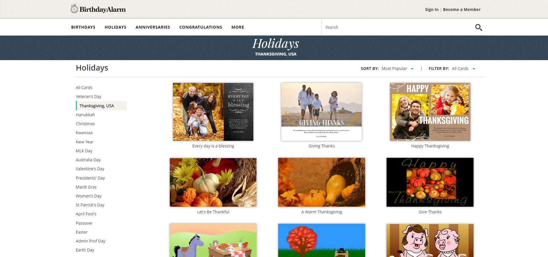 A Screenshot Of The Thanksgiving Ecards On Birthday Alarm Website