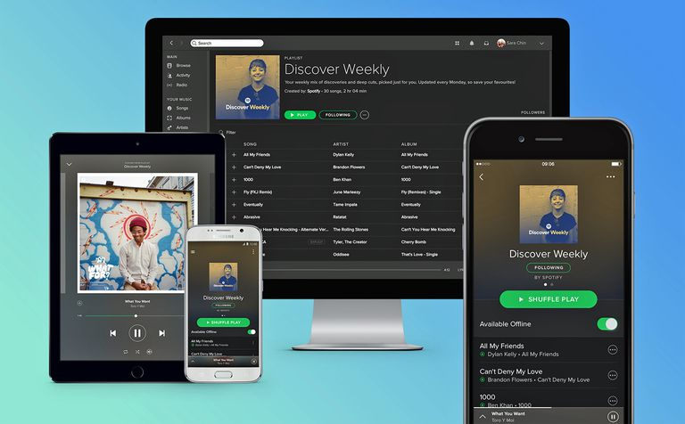A photo illustration of computing devices using Spotify.