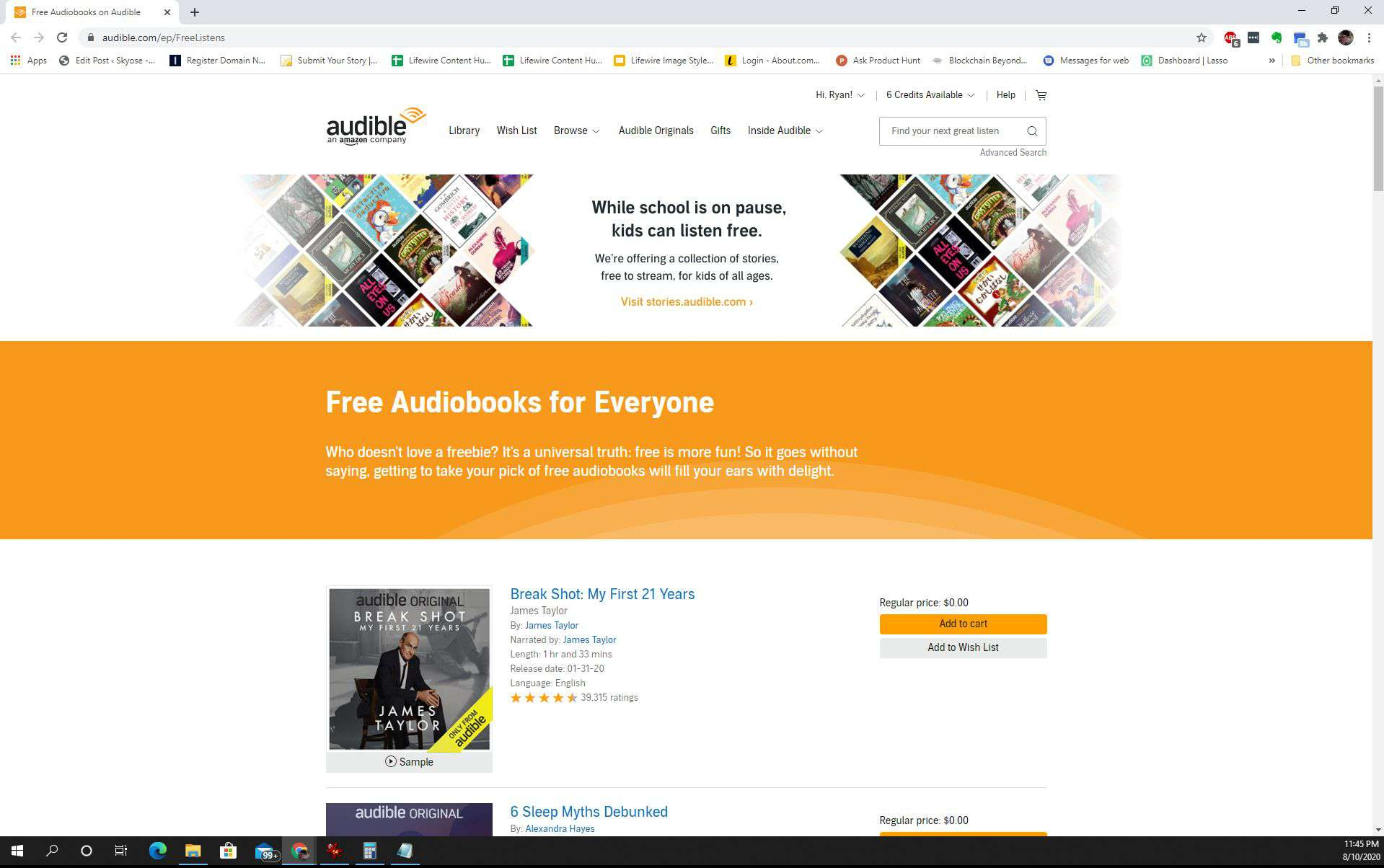 Screenshot of free Audible audiobooks page
