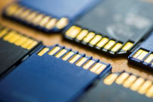 A close up of two rows of blue and black SD memory cards