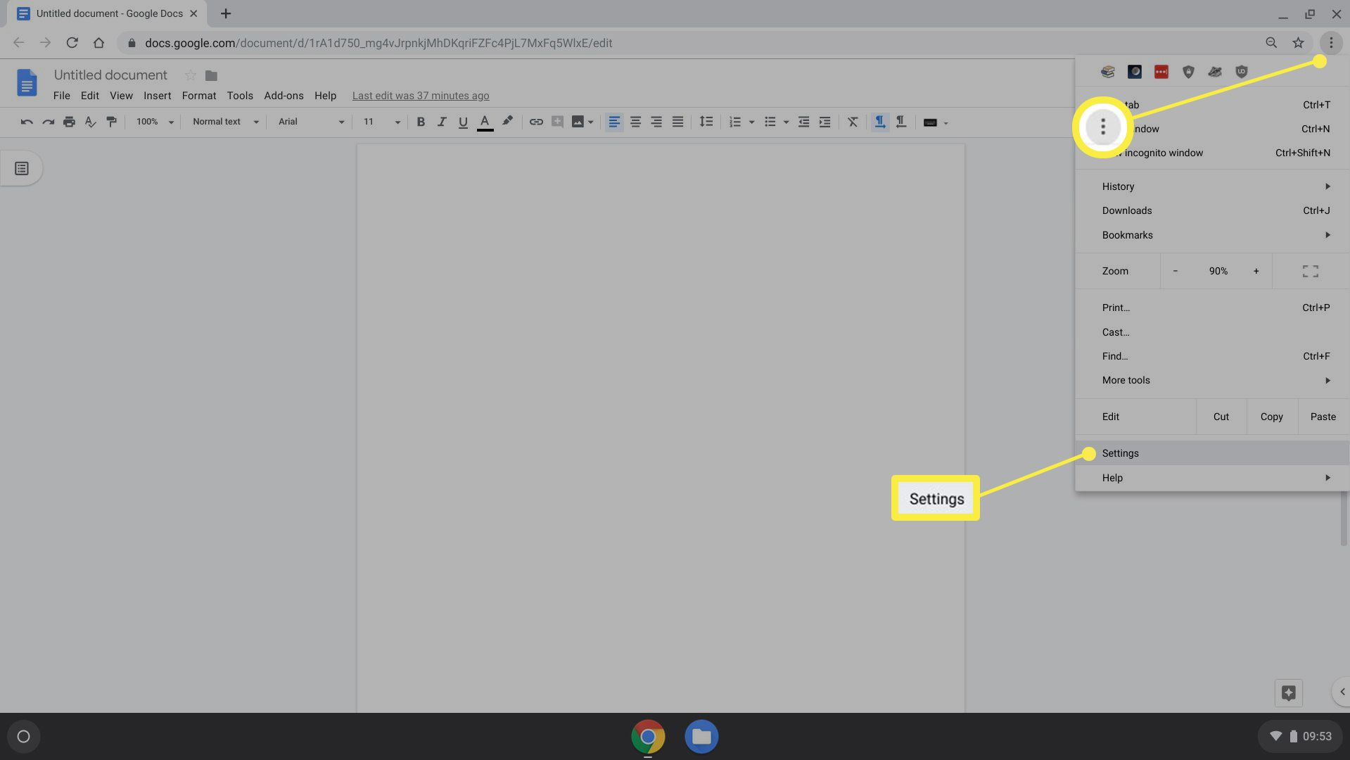 Chrome OS menu with Settings selected