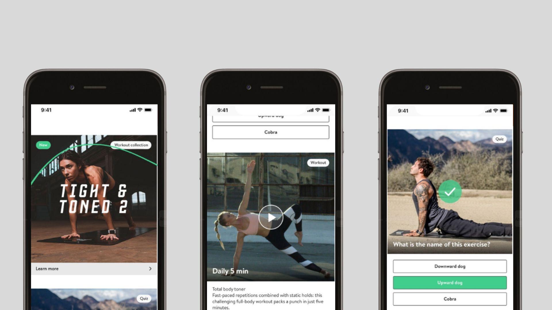 Three screenshots of the Asana Rebel app.