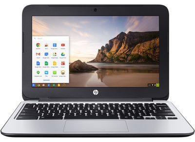 HP Chromebook opened to the desktop