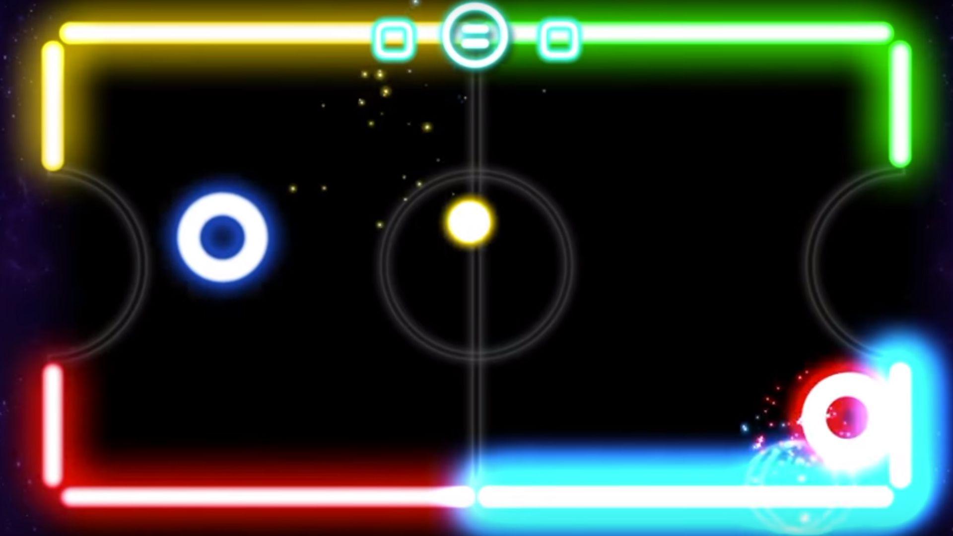 Glow Hockey 2 local offline multiplayer game.
