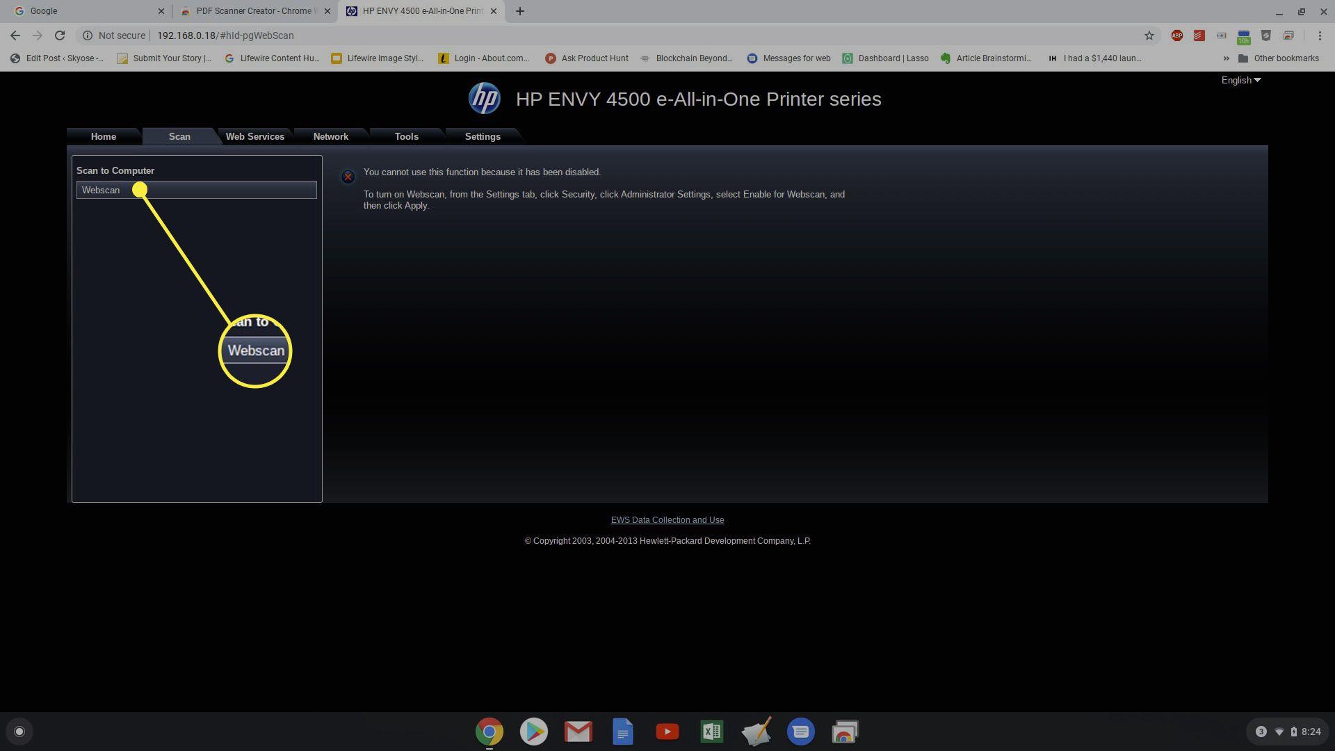 Screenshot of the HP Printer menu Scan tab