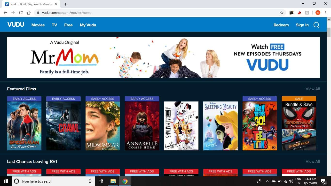 Vudu offers the newest movies to rent and a selection of free original shows.