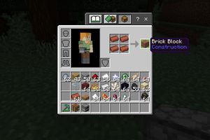 A Brick block in the crafting grid in Minecraft