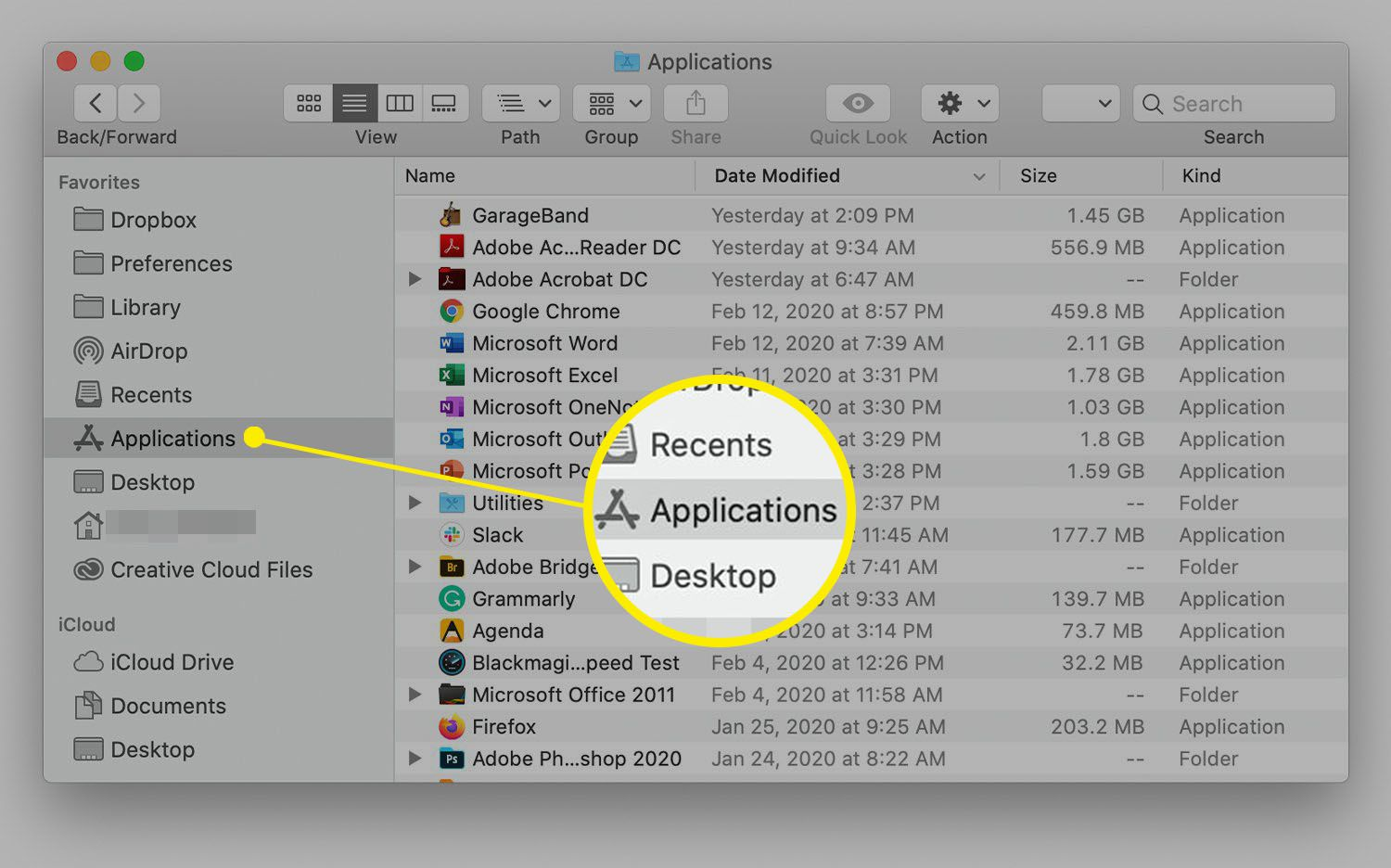Mac Finder Window showing Applications