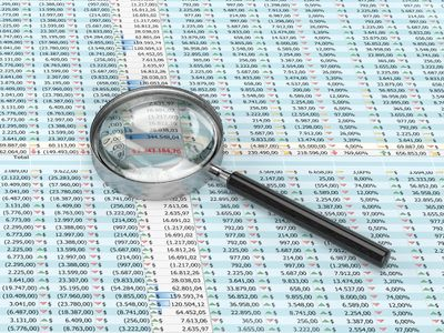 Magnifying glass on a spreadsheet