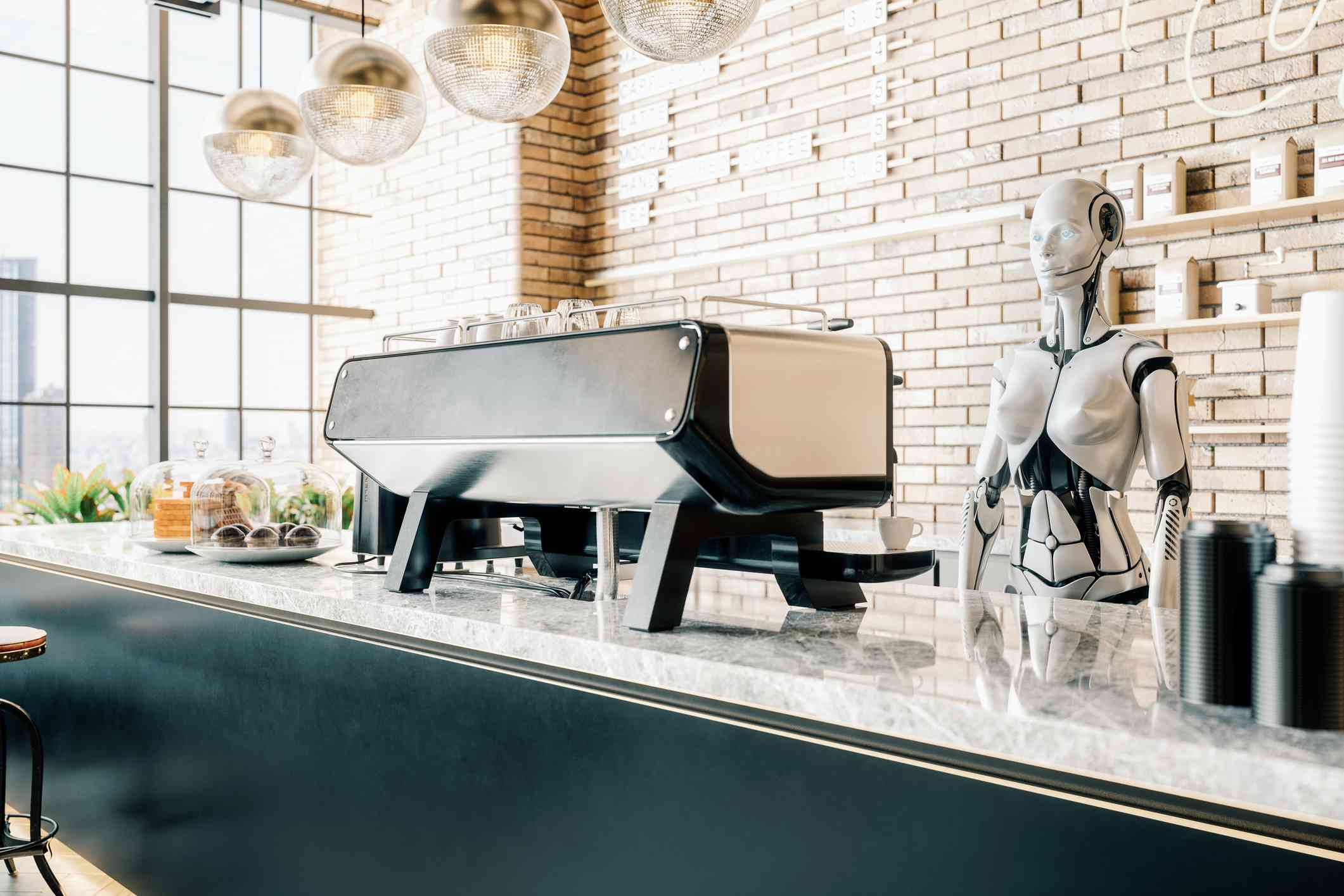 Interior of a third wave coffee shop with robot barista.