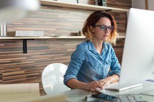Woman creating a Google+ profile