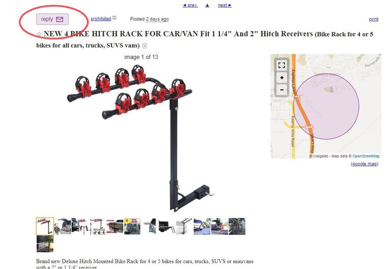 screen showing Reply function on Craigslist