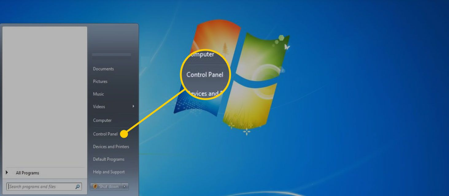 Start menu in Windows 7 with the Control Panel option highlighted