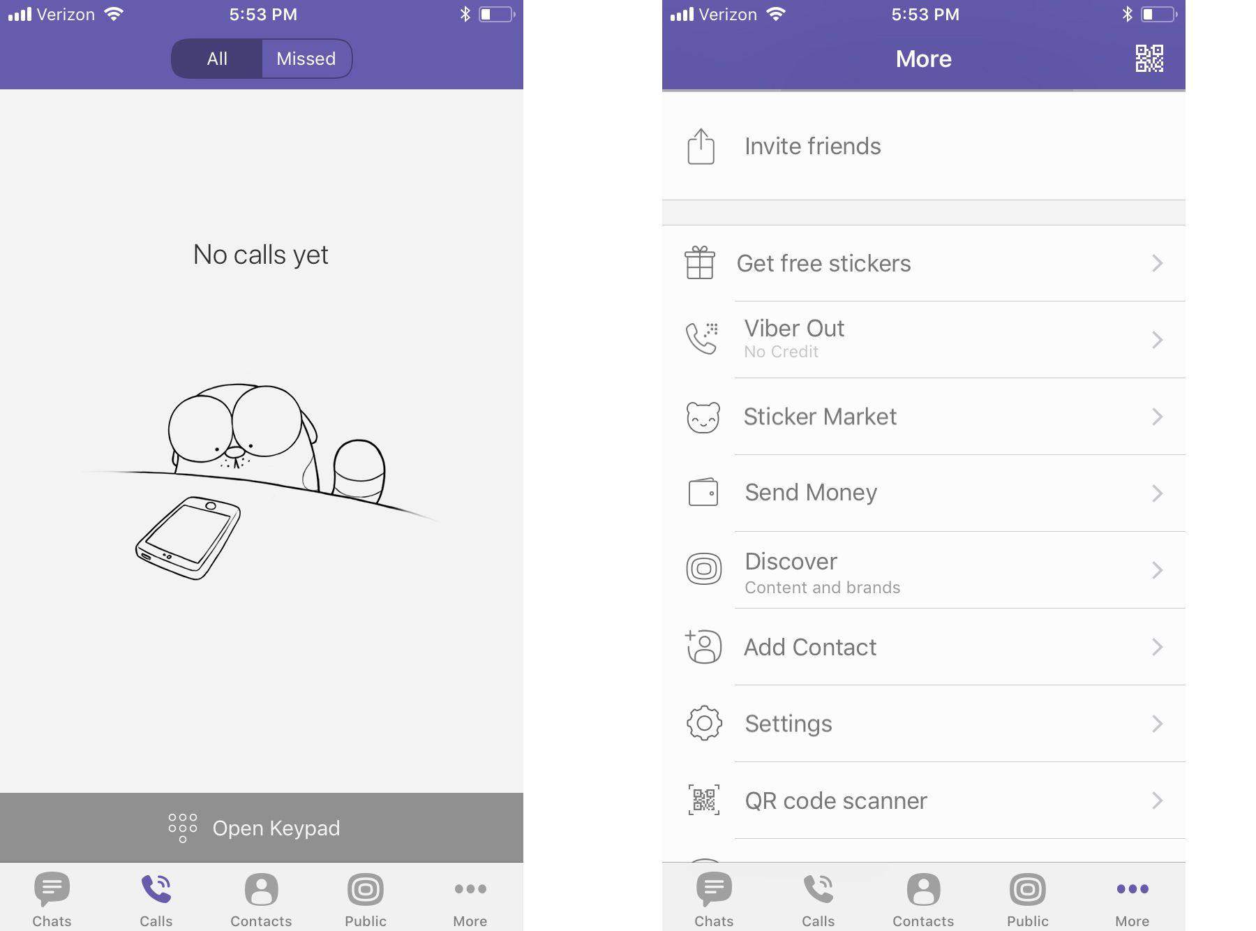 Viber app calls screen and options menu