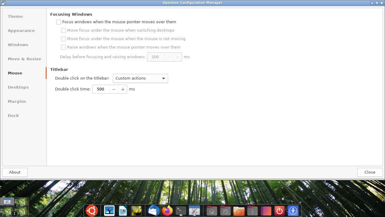 Ubuntu Openbox mouse settings