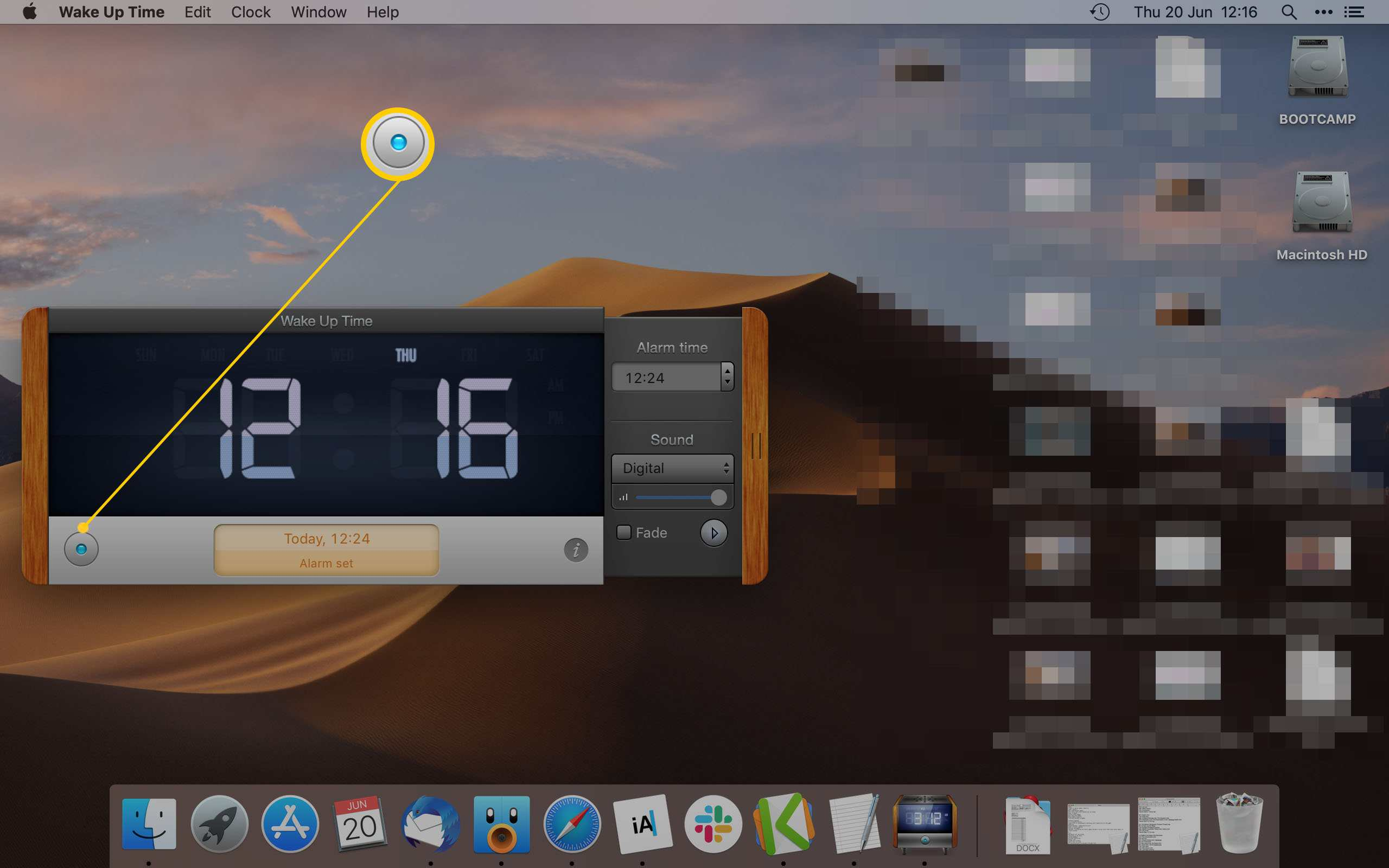 Wake Up Time App for Mac displaying what button to press to set an alarm
