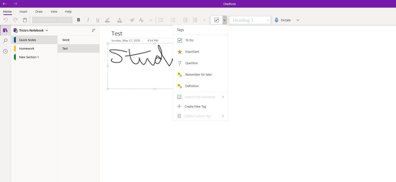 Tags in OneNote.