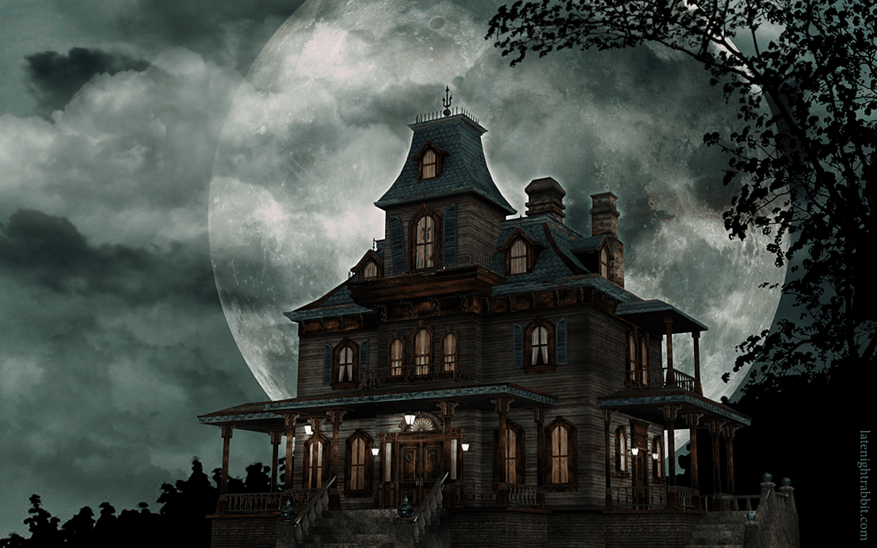 A haunted house in front of a full moon.