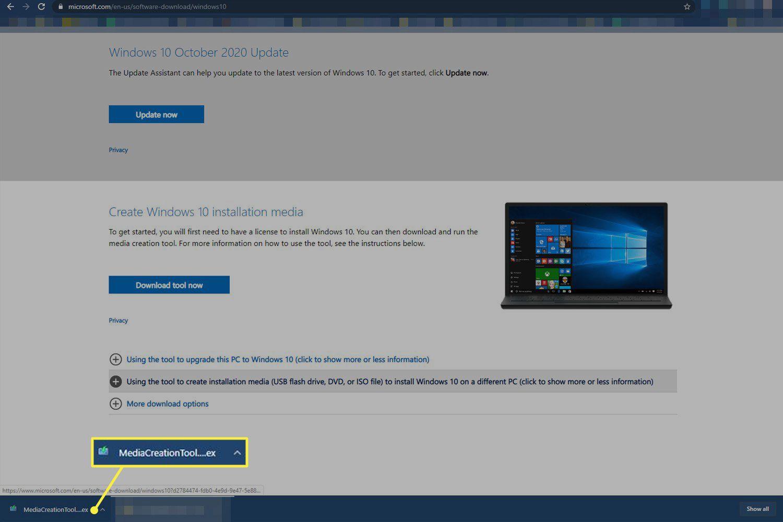 Run the media creation tool to install Windows onto the USB drive.