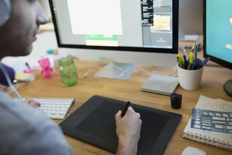 Graphic artist at work