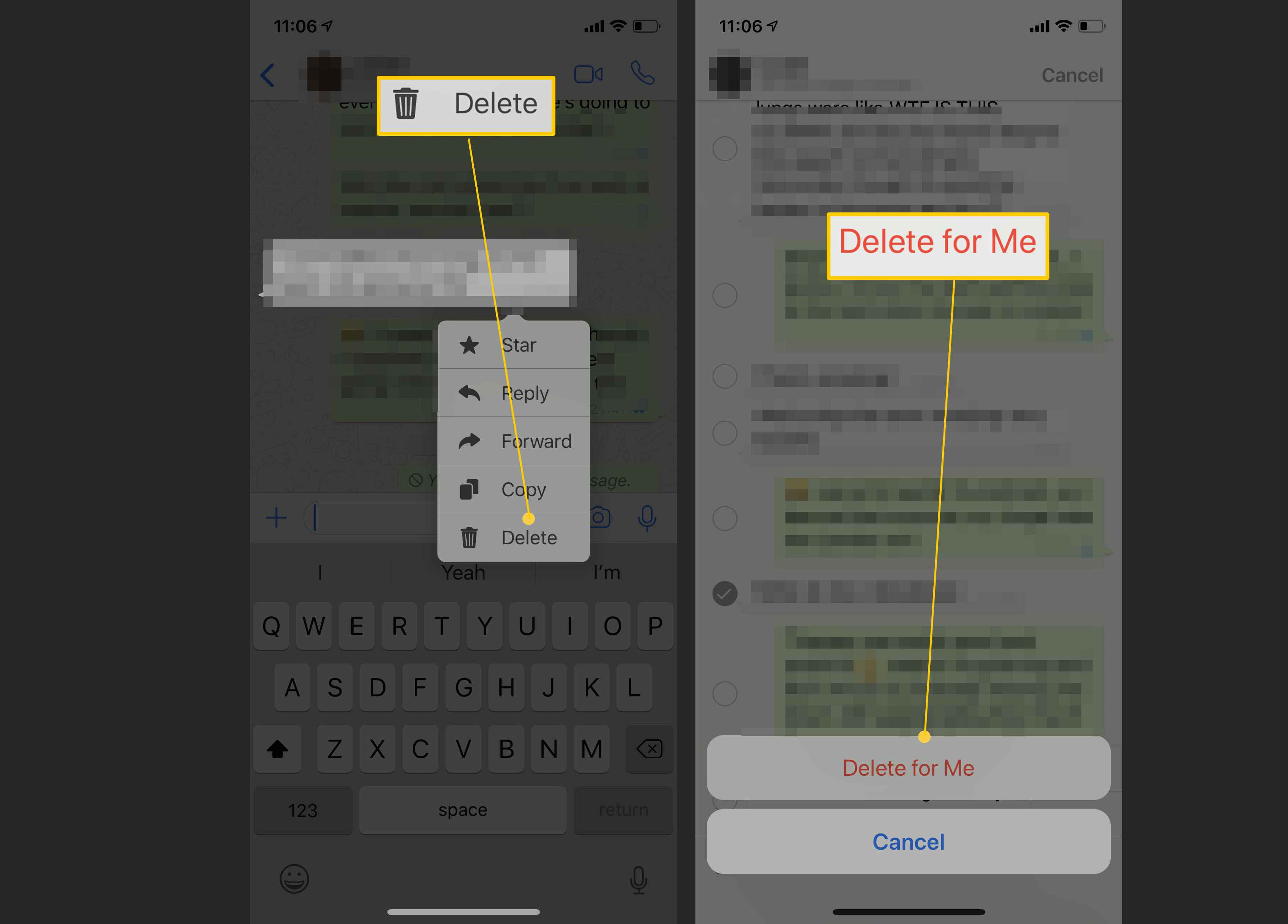 Steps for deleting a received message on WhatsApp