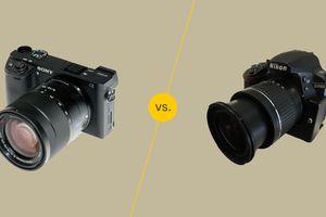 Mirrorless camera and a DSLR