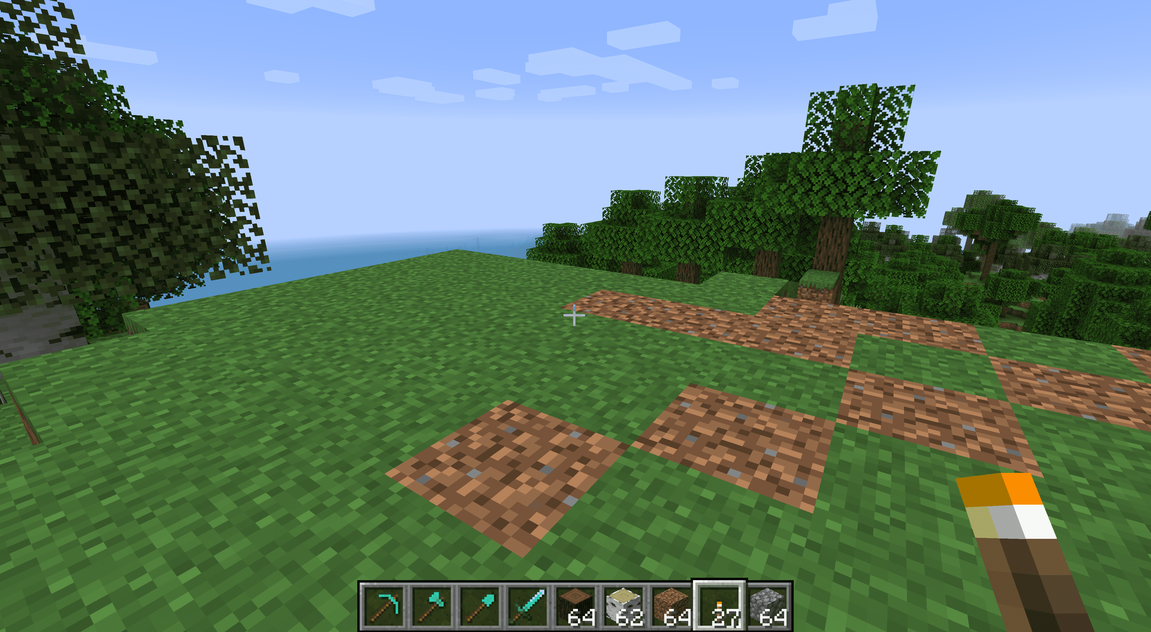 A clear flat area for a house in Minecraft.
