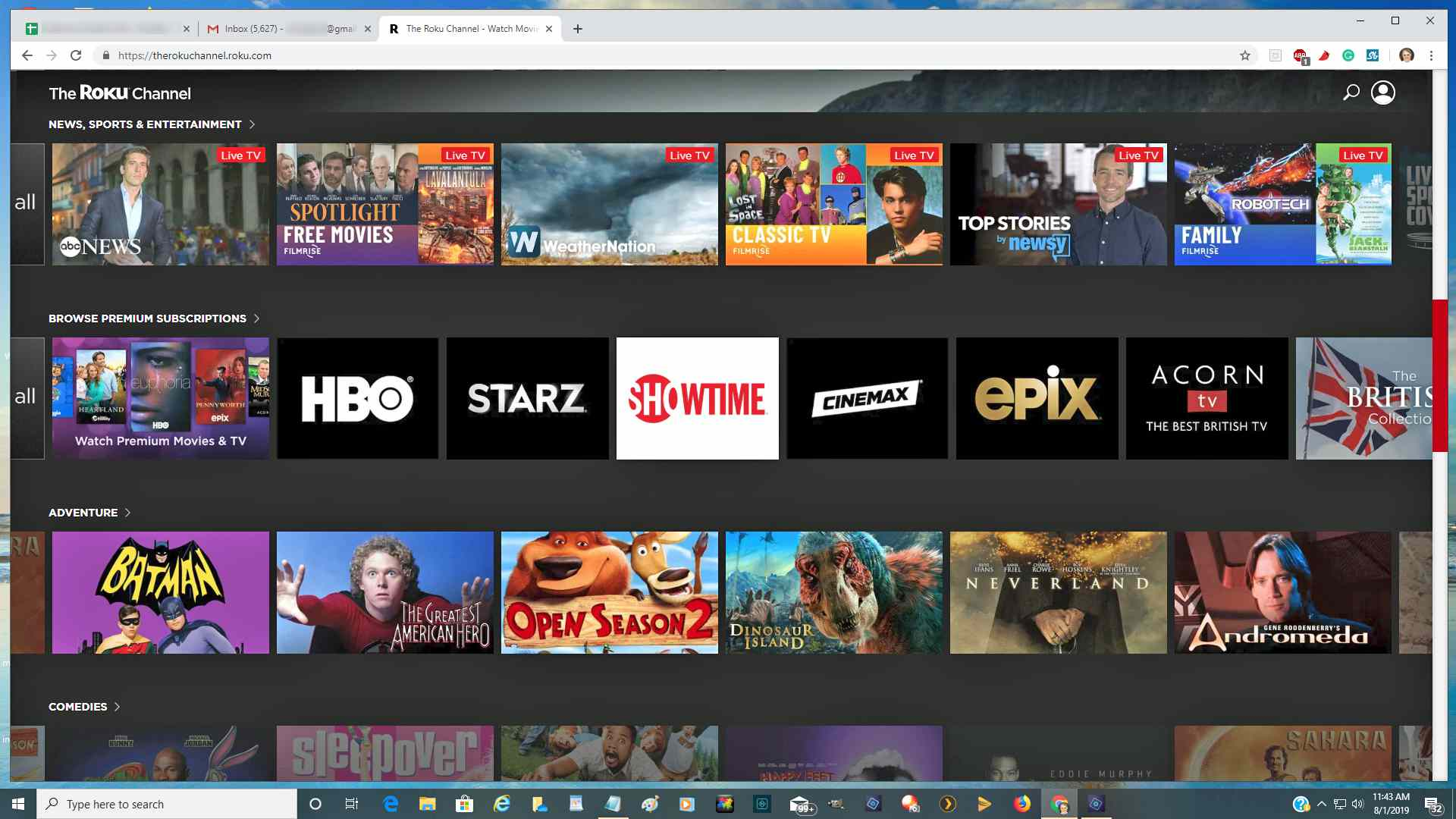 Accessing The Roku Channel Using a Web Browser – Chrome Example