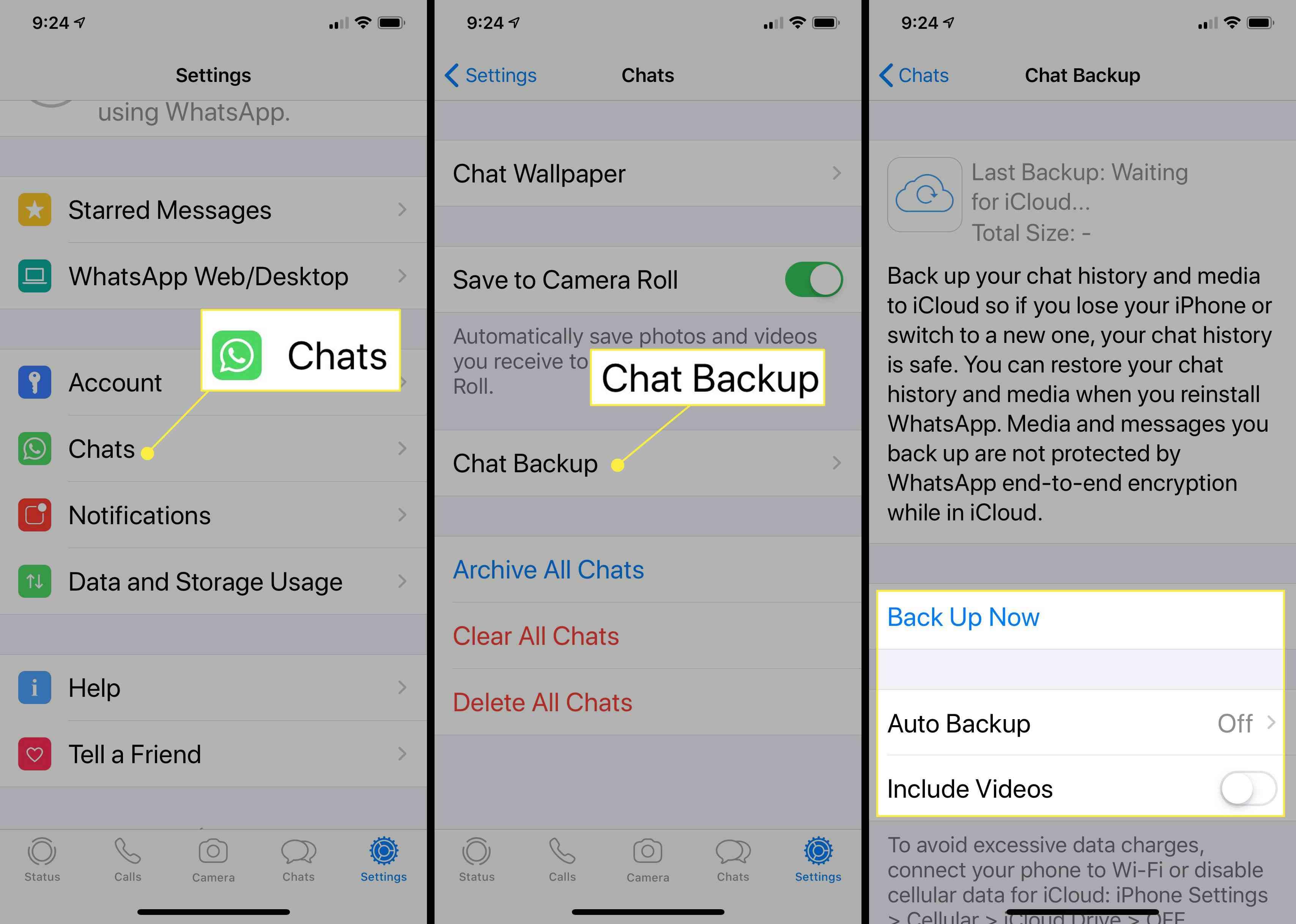 Chat backup options