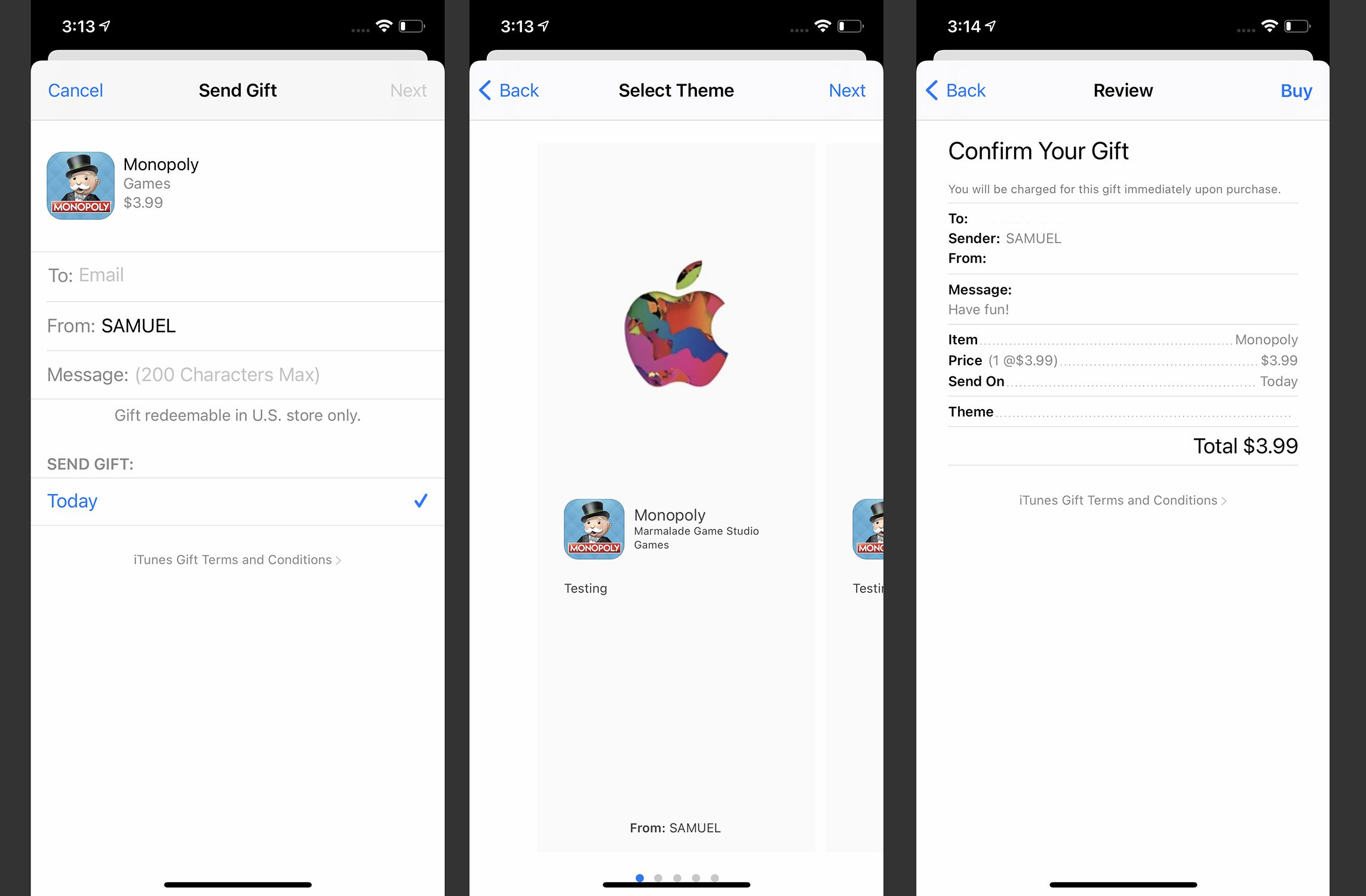 Screenshots of gifting an iOS app from the App Store