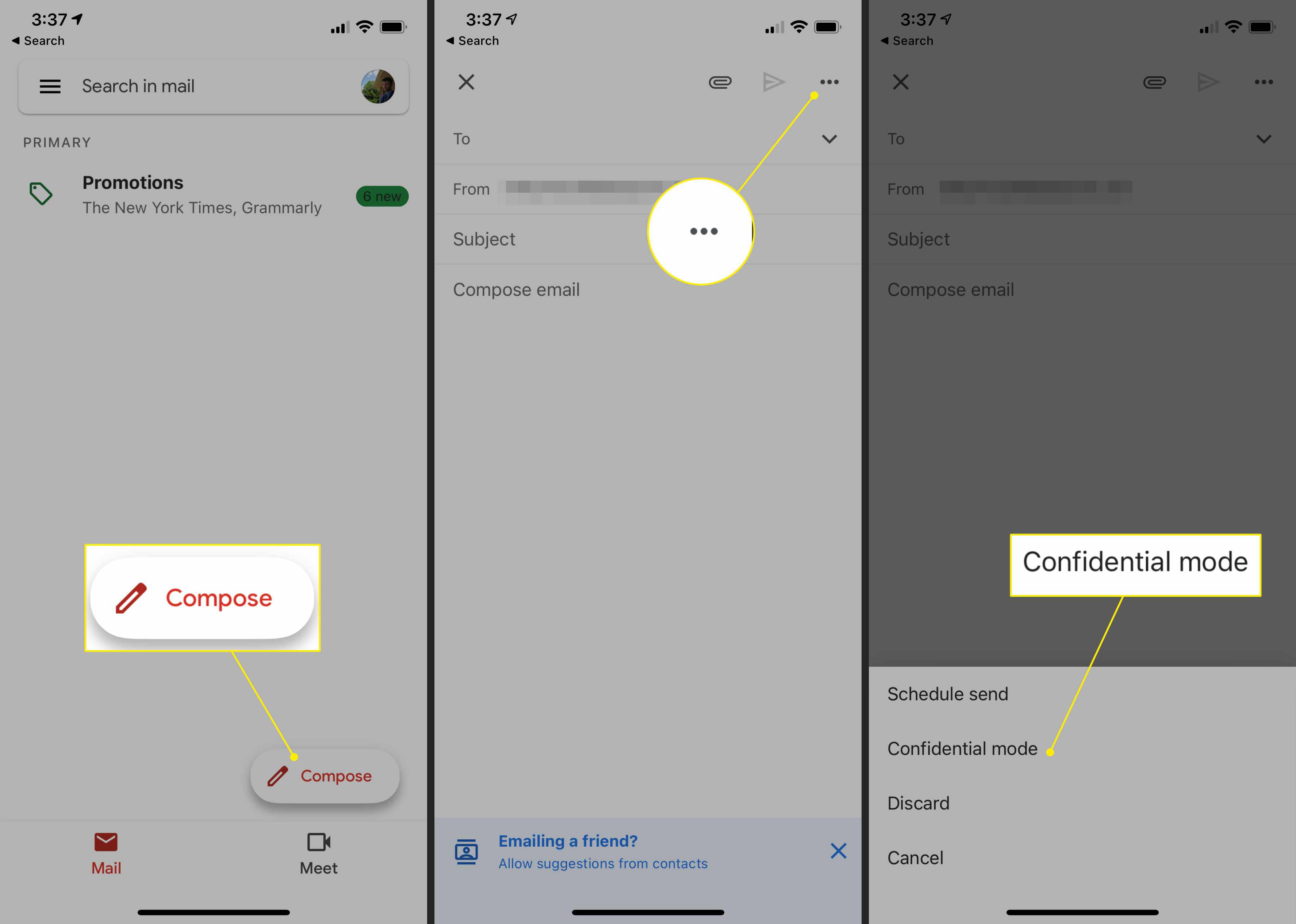 Compose, More, and Confidential Mode options in the Gmail app