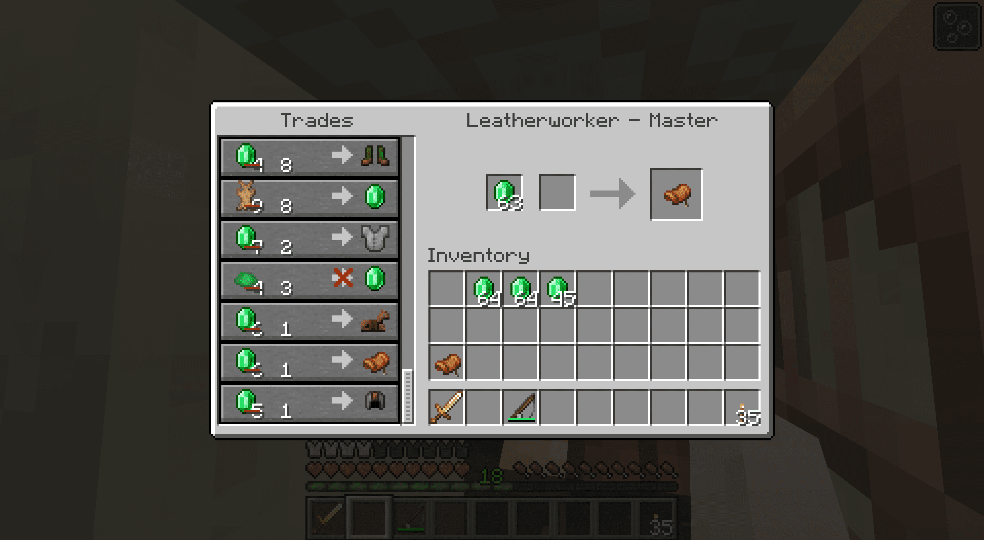 Trading for a saddle with a master leatherworker in Minecraft.