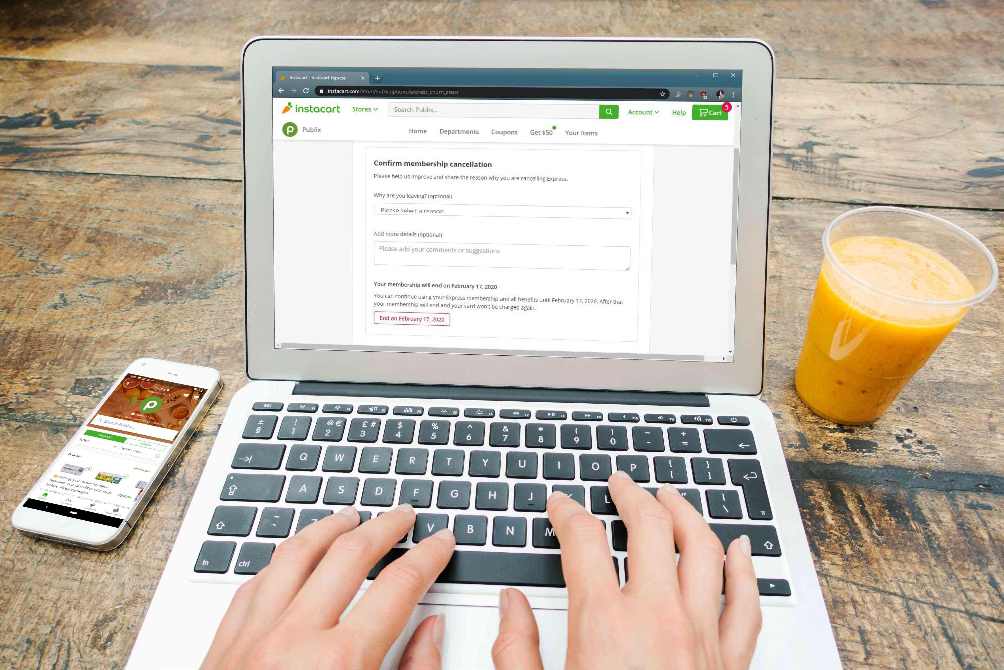 An Instacart user cancels their Express membership using a laptop.