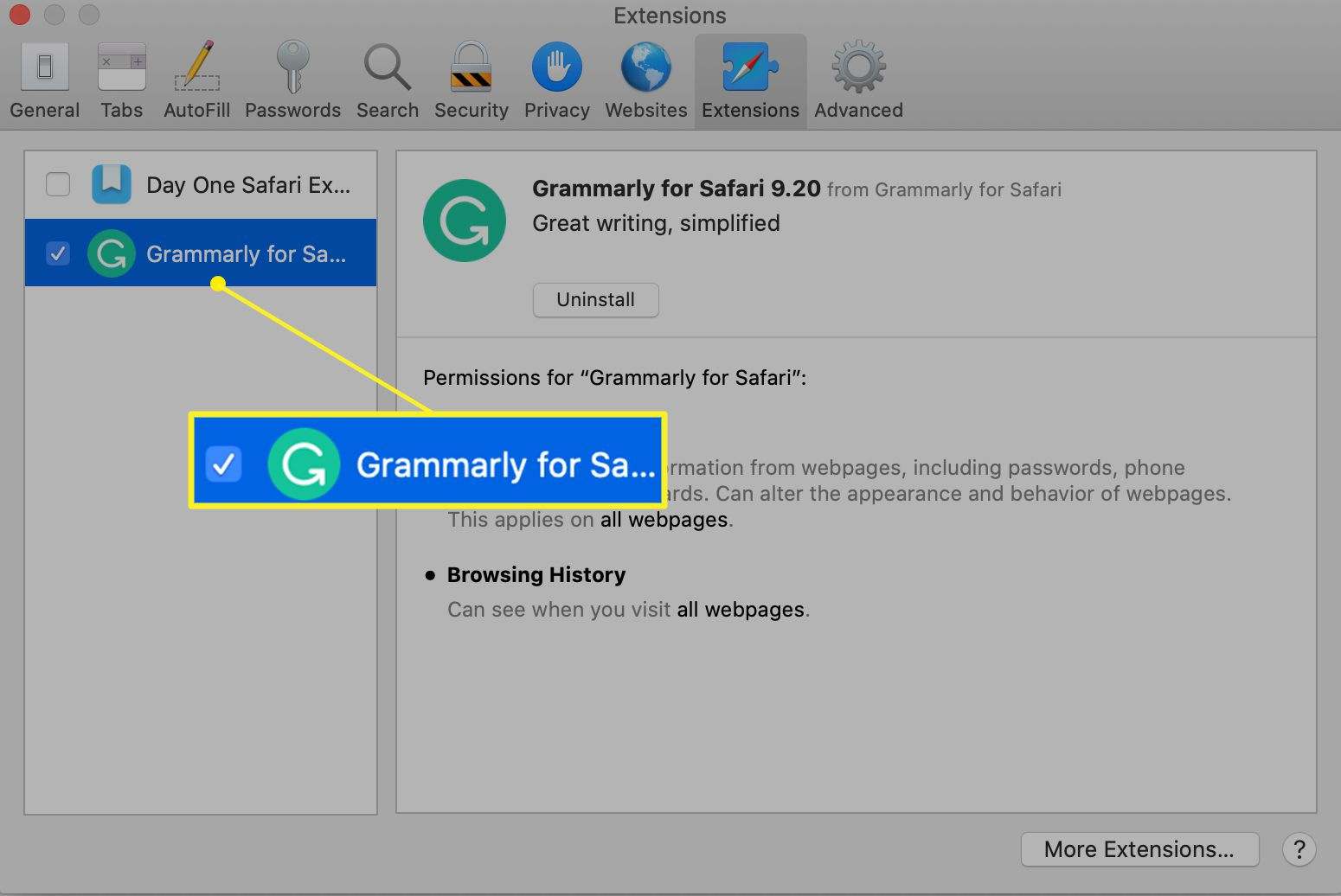 Grammarly extension selected in Extensions preferences