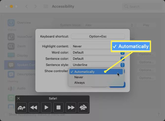 Mac Show Controller menu options with 'Automatically' highlighted