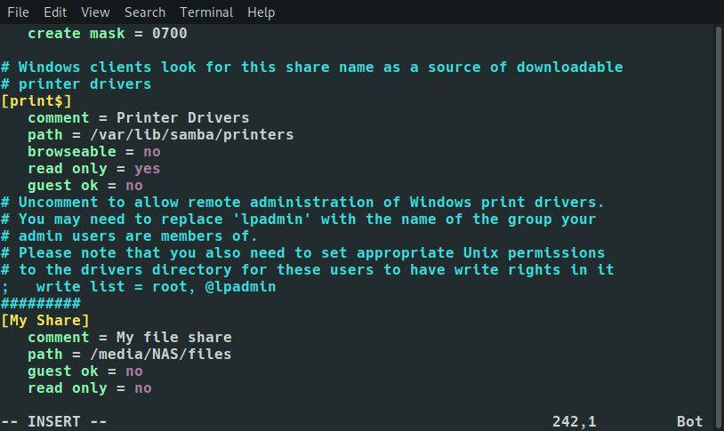 Raspberry Pi Samba share settings