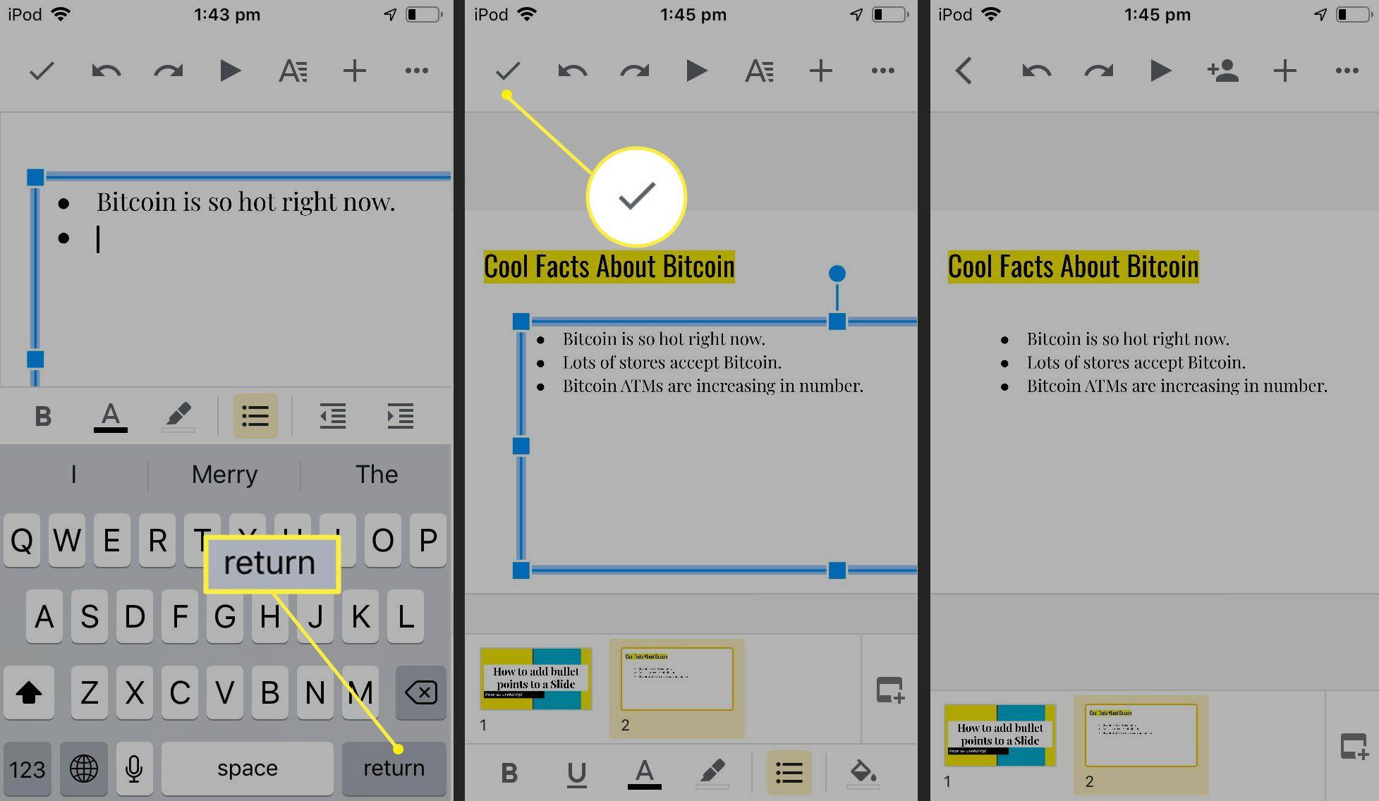 Google Slides iOS app showing bullet option