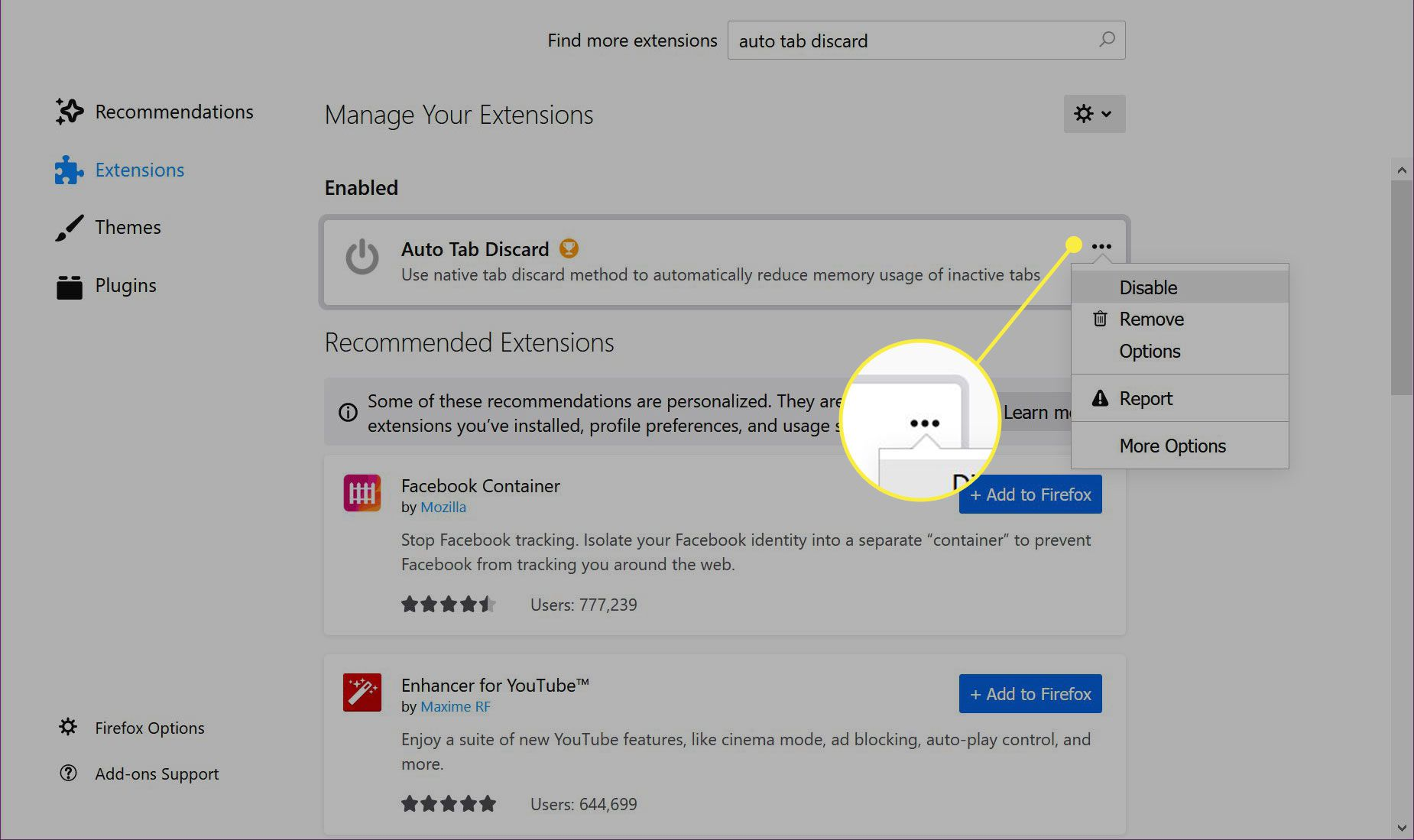 The three-dot menu next to a Firefox extension